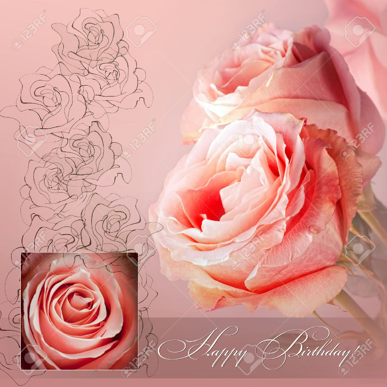Happy Birthday Greetings With Pink Roses Stock Photo Picture And