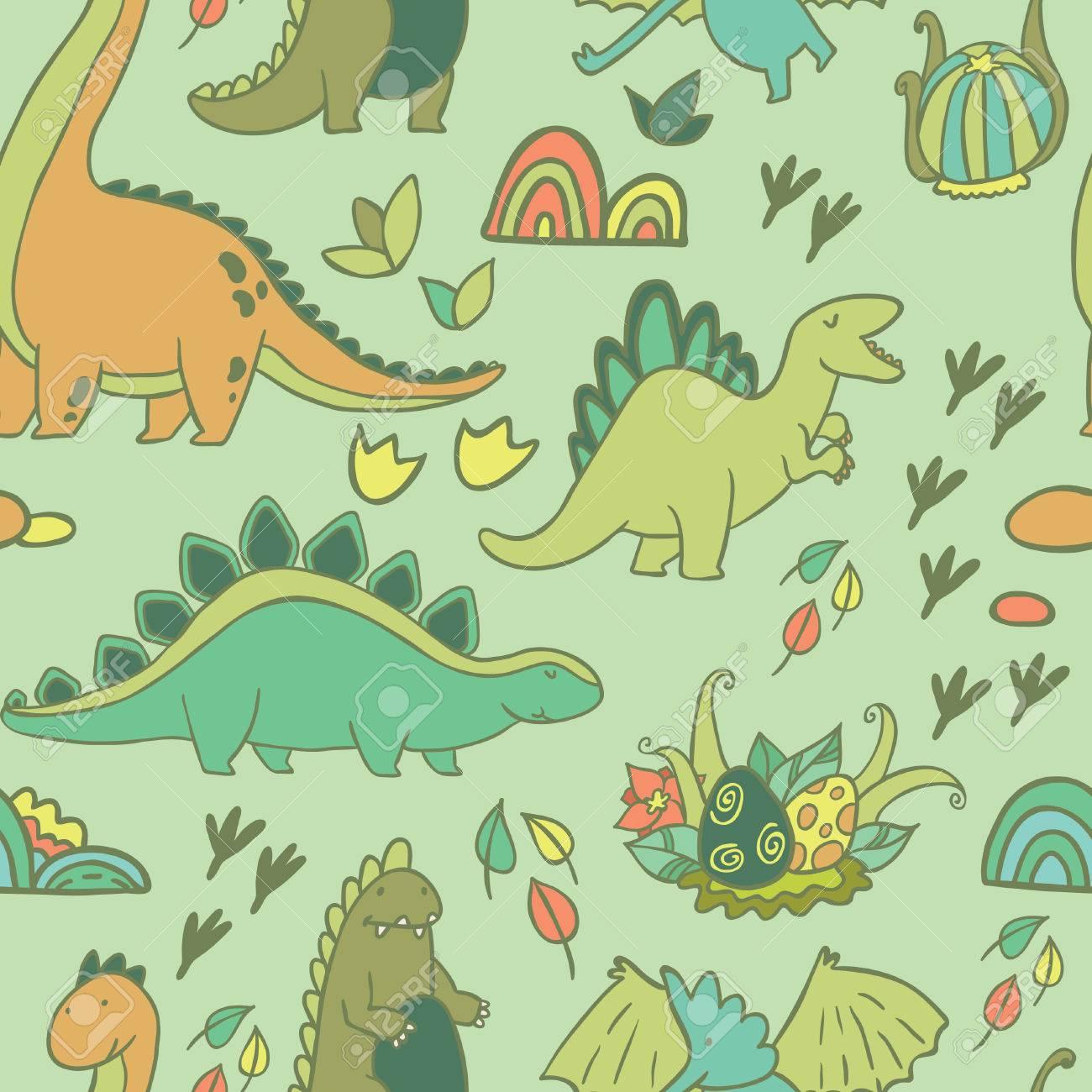Dinosaurios Adorables. Patrón Transparente Para Fondos De Pantalla ...