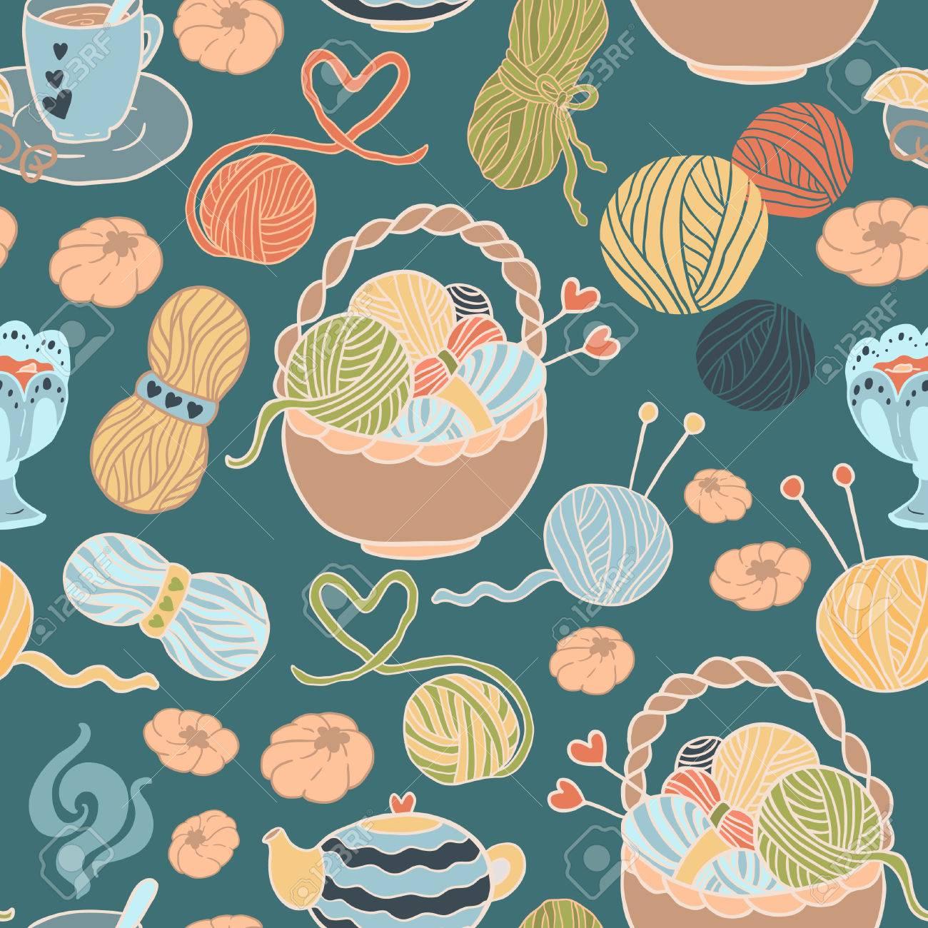 Ich Liebe Stricken! Fun Nahtlose Vektor-Muster Für Ihr Design ...