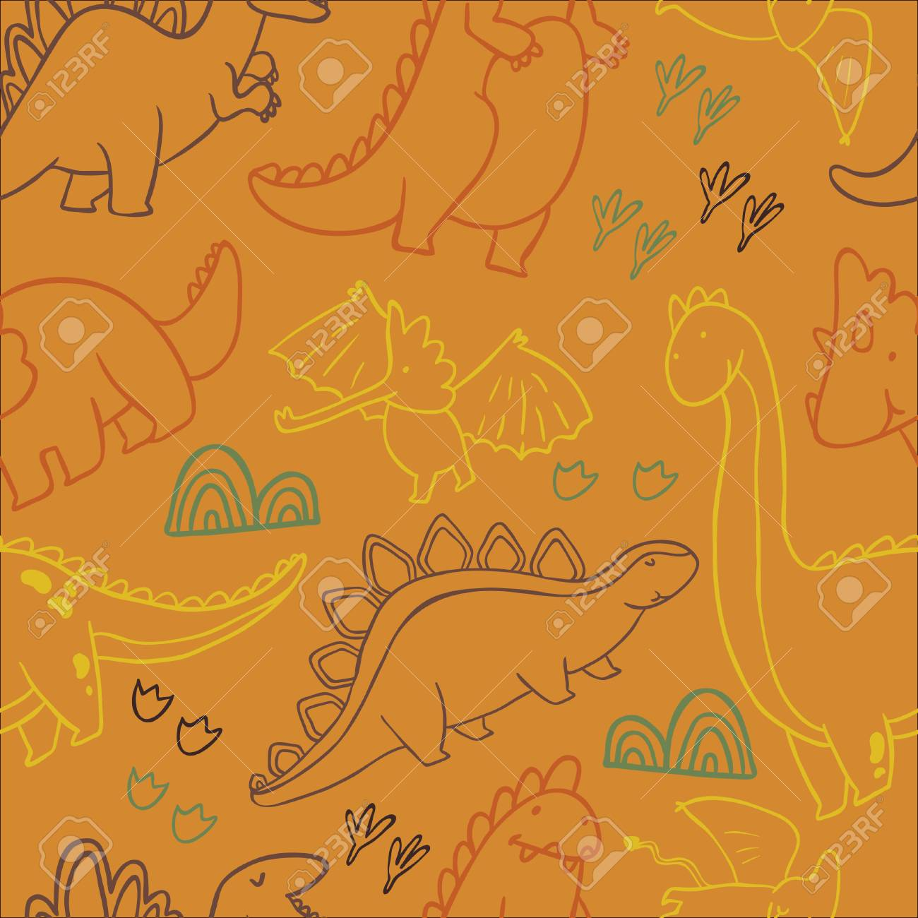 Adorable Dinosaurs Seamless Pattern For Wallpapers Pattern