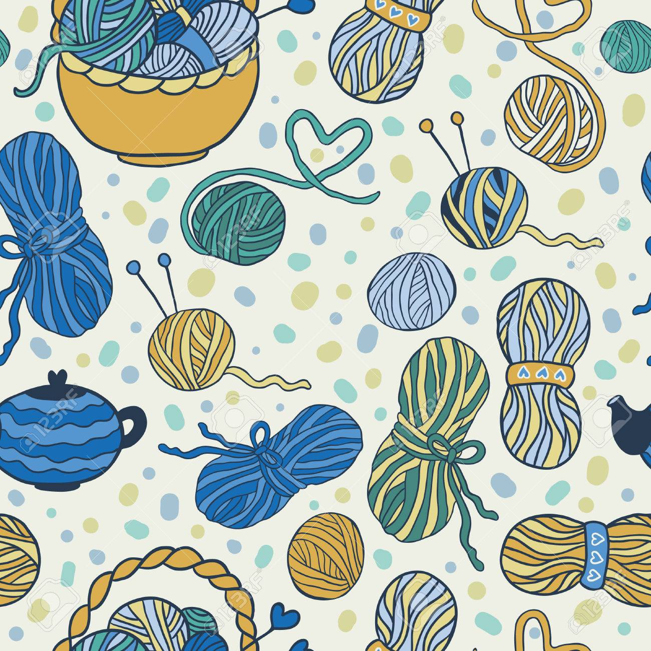 I Love Knitting! Fun Seamless Vector Pattern For Your Design ...