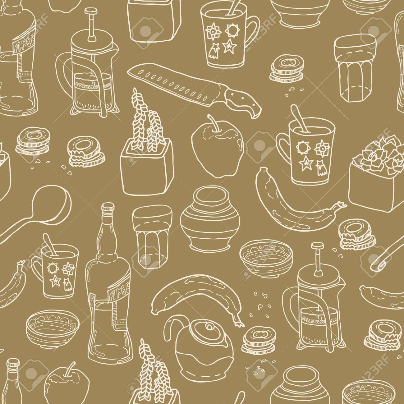 Kitchen Stuff Nahtlose Muster. Hand Gezeichnet Vektor-Thema. Gut Für ...