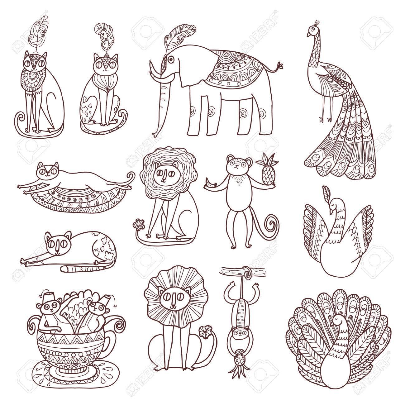 Dibujos Animados De Animales De La Selva Para Colorear