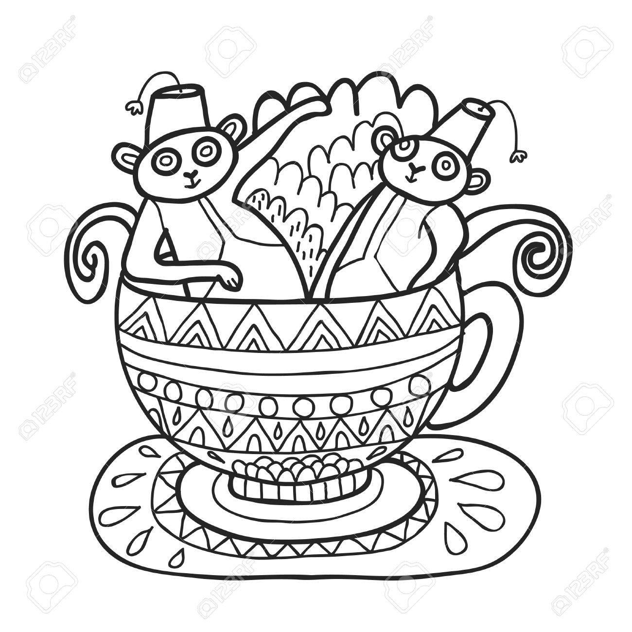 Maharaja Garden capuchin monkeys in tea cup for coloring. Adult..