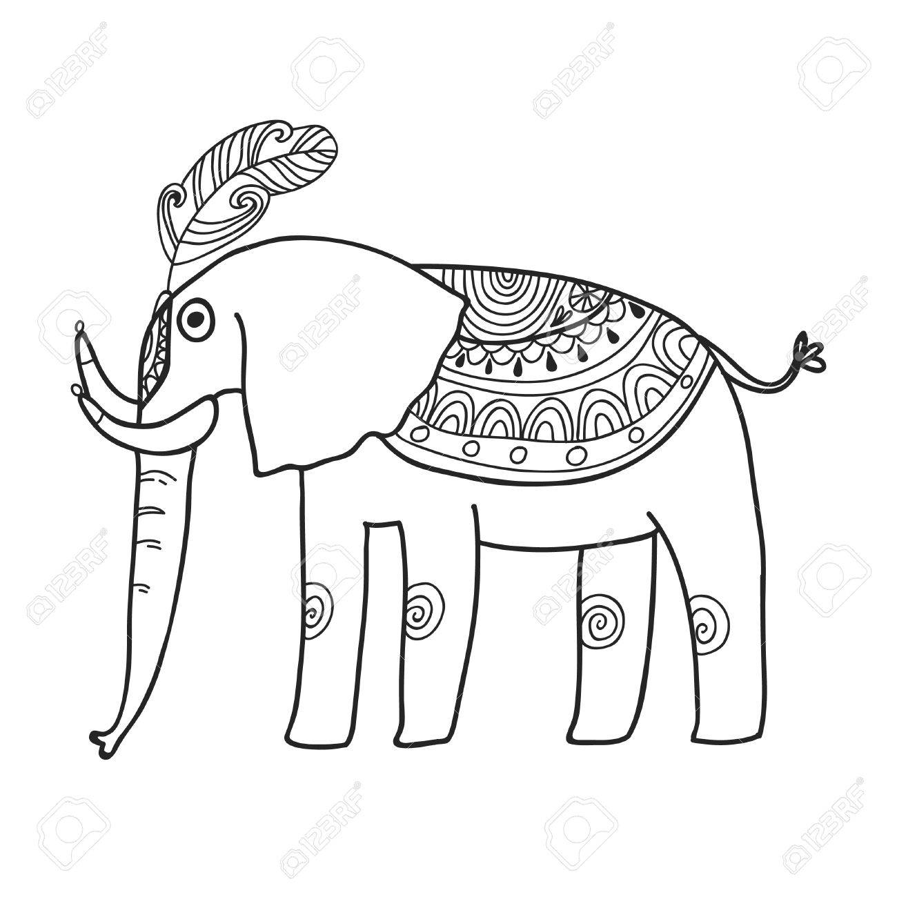 Maharaja Garten Elefant Zum Färben. Adult Malvorlagen. Lizenzfrei ...