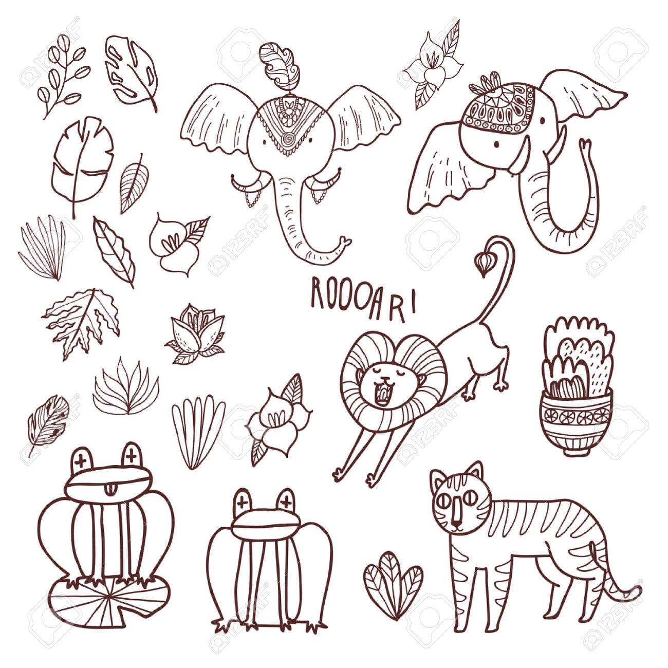 Establece Maharaja Jardin Vectorial Animales Salvajes De La Selva