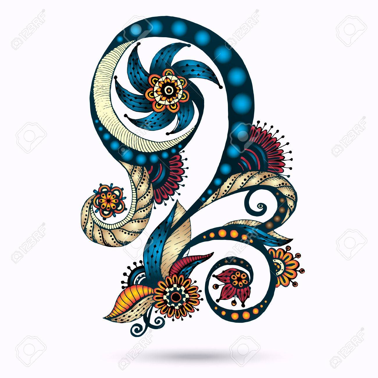henna paisley mehndi doodles abstract floral vector illustration rh 123rf com