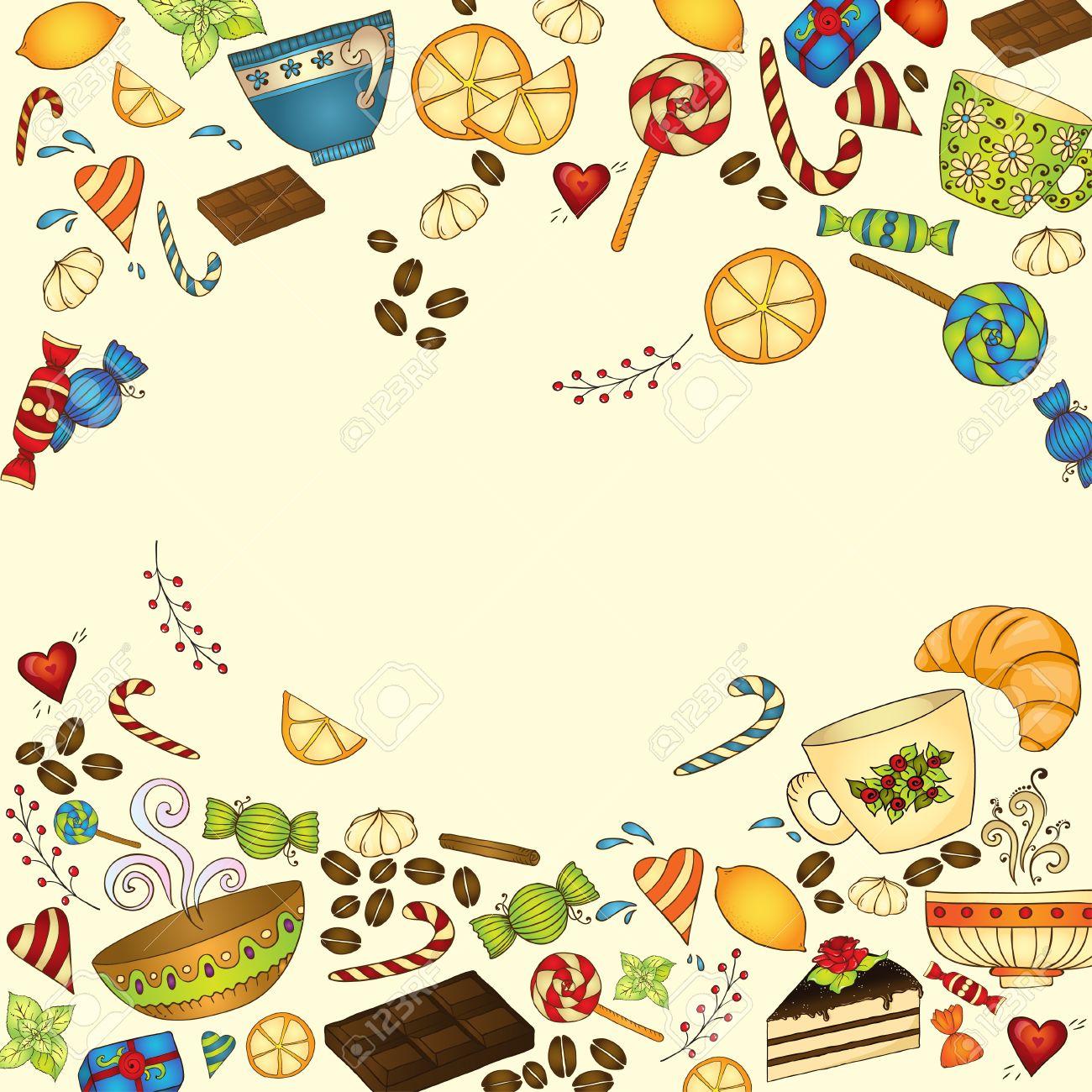 tee, kaffee und süßigkeiten doodle vorlage patern einladung, Einladung