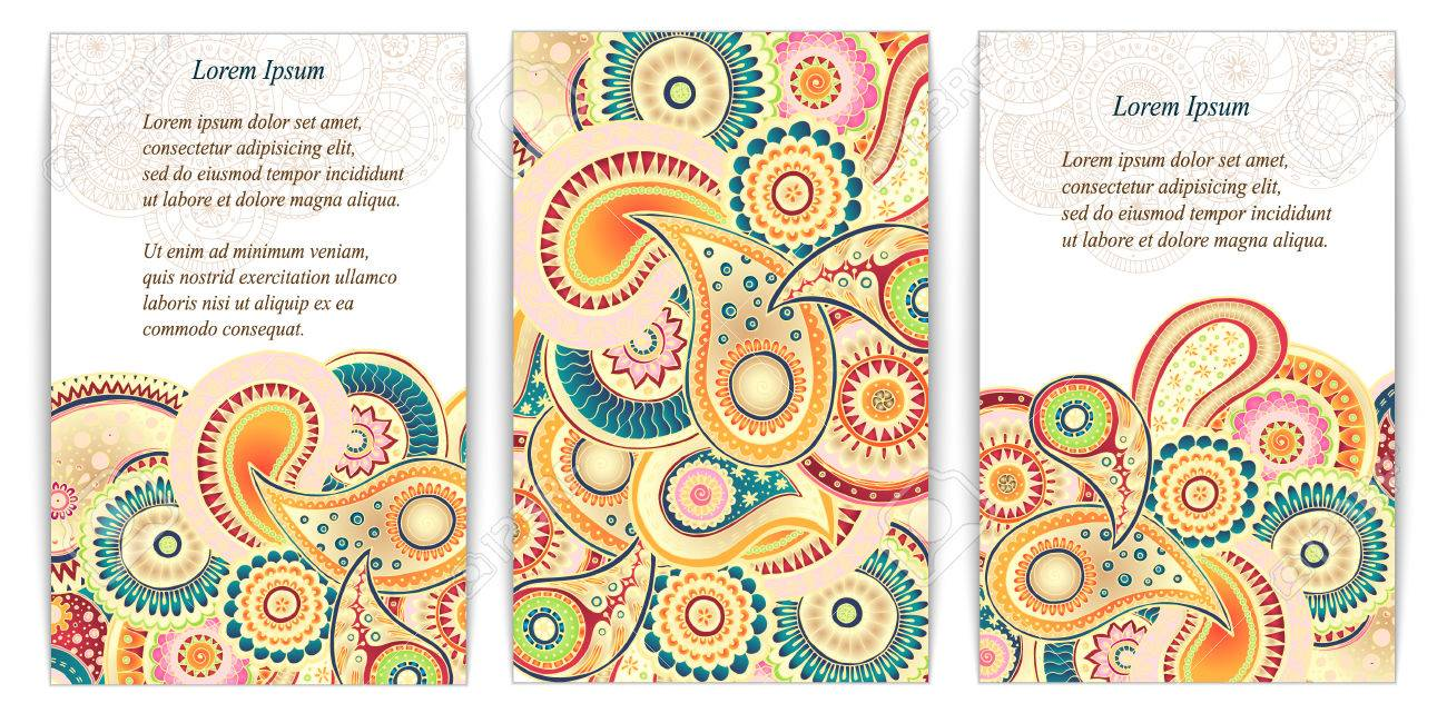 Set of posters with doodle paisley for your business used set of posters with doodle paisley for your business used clipping mask for easy editing magicingreecefo Images