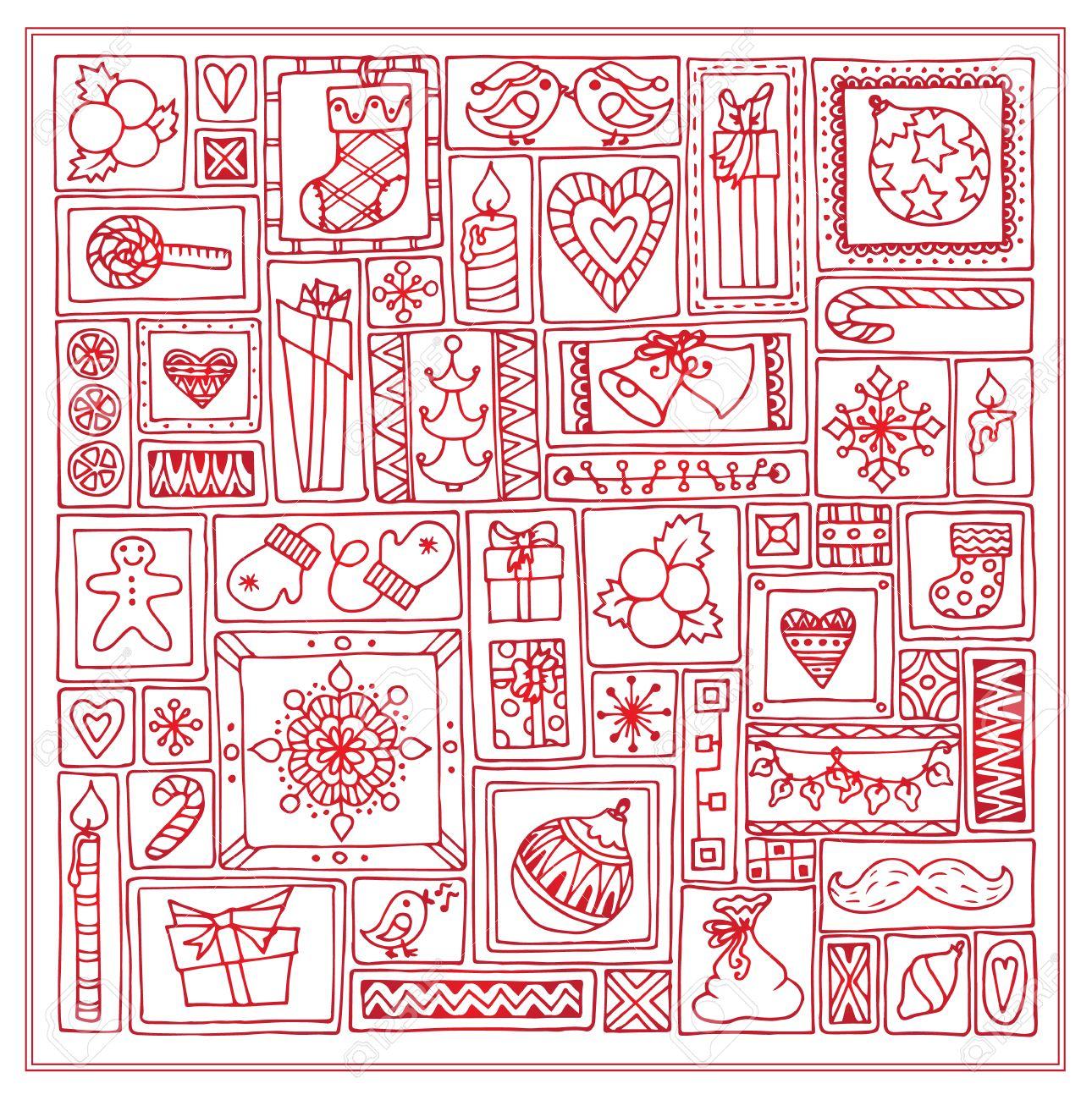geometric christmas doodle hand drawn pattern template design