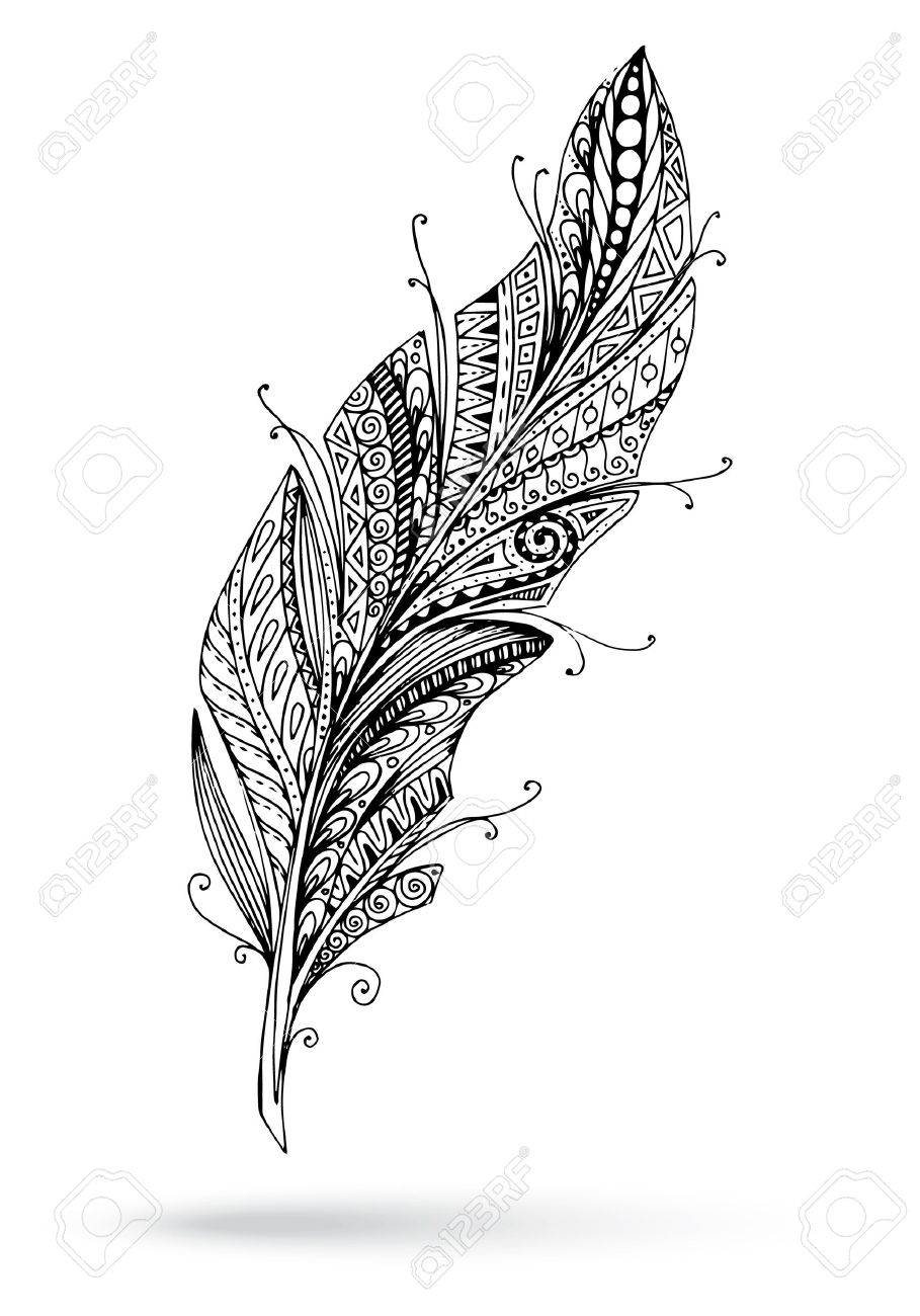 Fra Cipolla e la penna dell'Arcangelo Gabriele 39555709-Kunstvoll-gezeichnet-stilisiert-Vektor-Feder-auf-einem-wei-en-Hintergrund--Lizenzfreie-Bilder