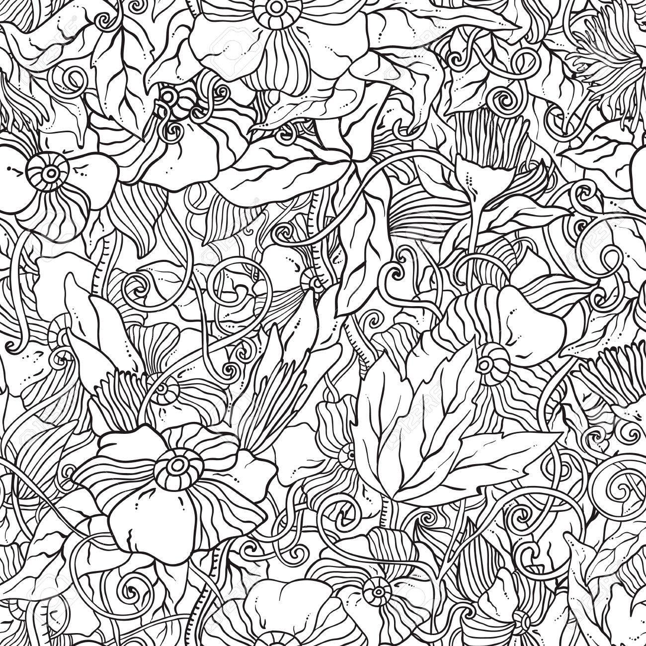 Seamless Noir Et Blanc Avec Des Fleurs Zentangle Texture Ornement