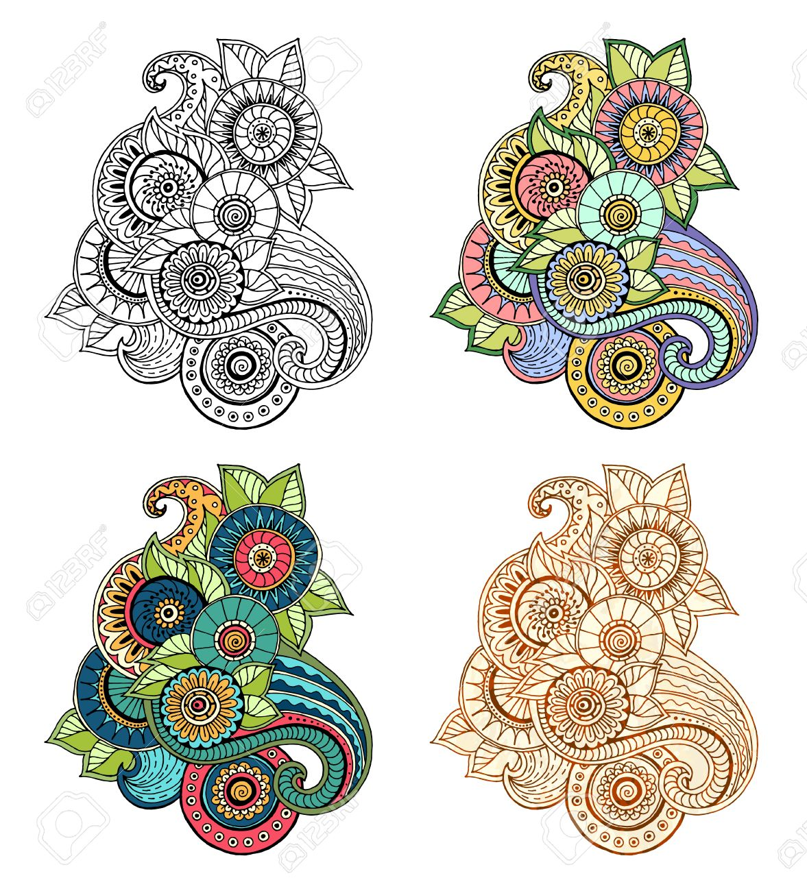 Ethnic floral zentangle, doodle background pattern circle in