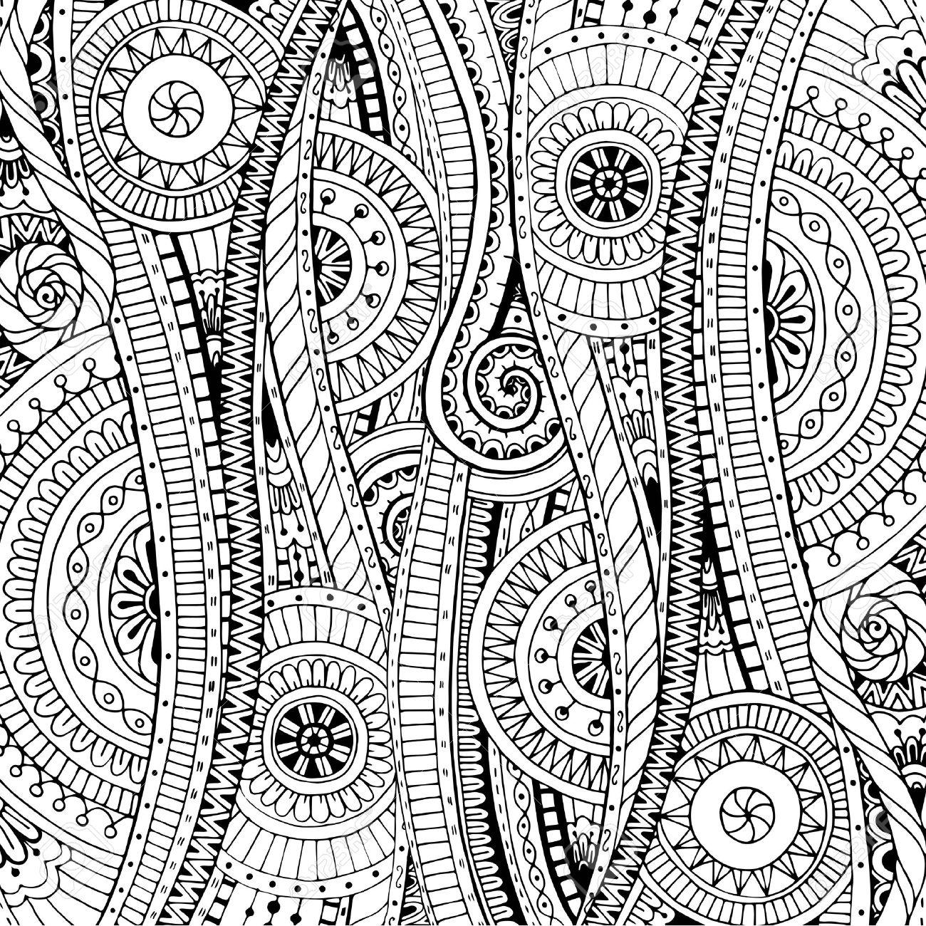 Fondo Del Doodle En El Vector Con Doodles, Flores Y Paisley. Vector ...