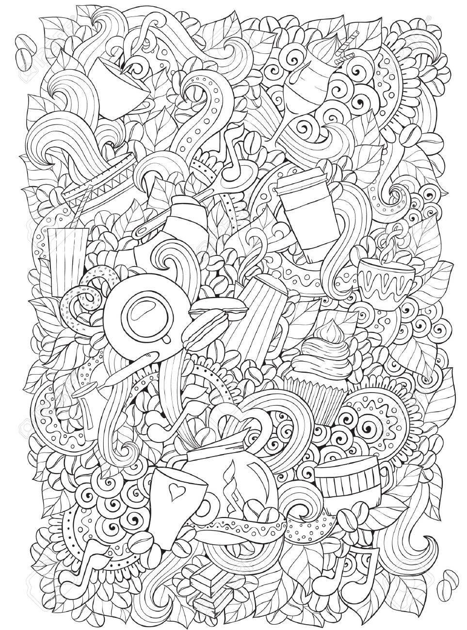 El Café Y El Té De Fondo Del Doodle En El Vector Con Paisley. Patrón ...