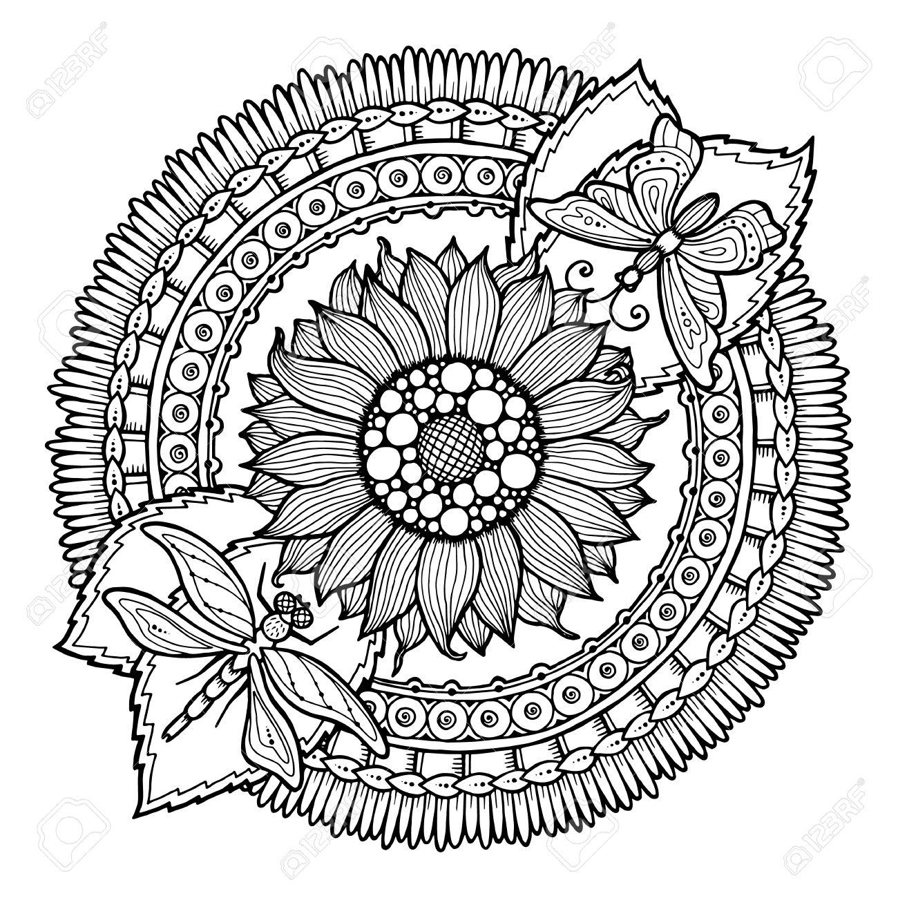 Cercle été Ornement Doodle De Fleurs Hand Drawn Art Mandala Fabriqué Par La Trace De L Esquisse Origine Ethnique Noir Et Blanc Zentangle Modèle