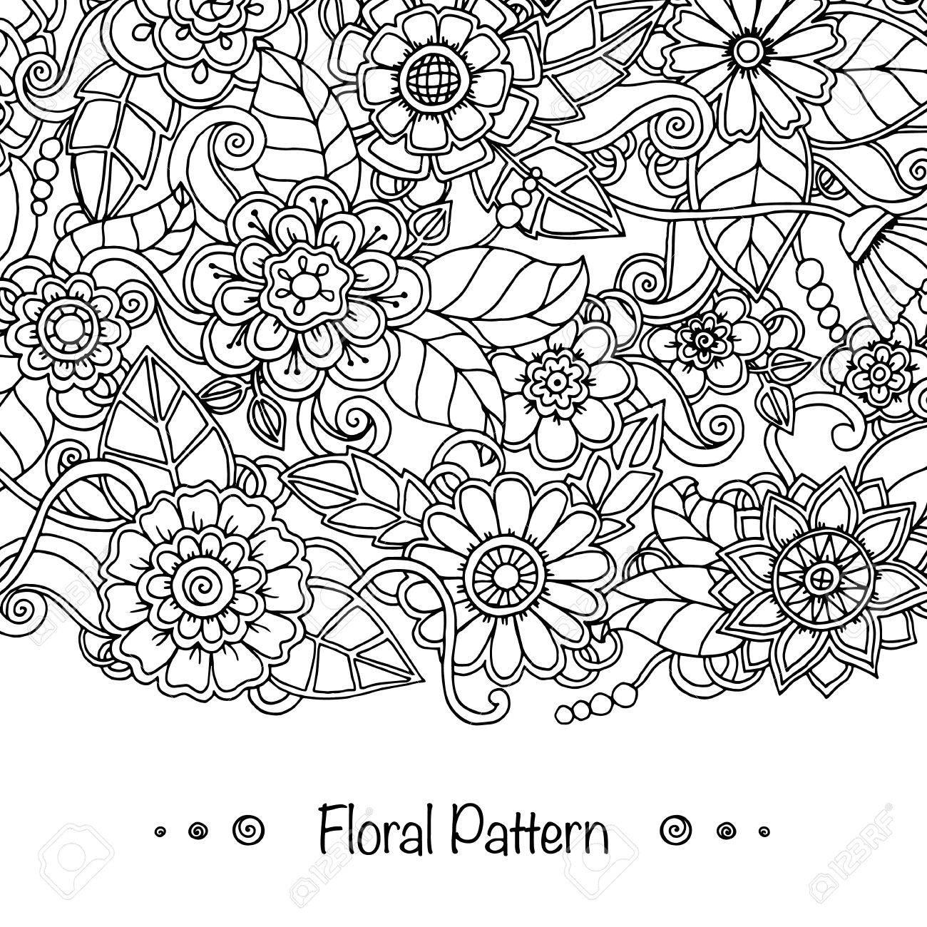 Fondo Del Doodle En El Vector Con Doodles, Flores Y Paisley. Modelo ...