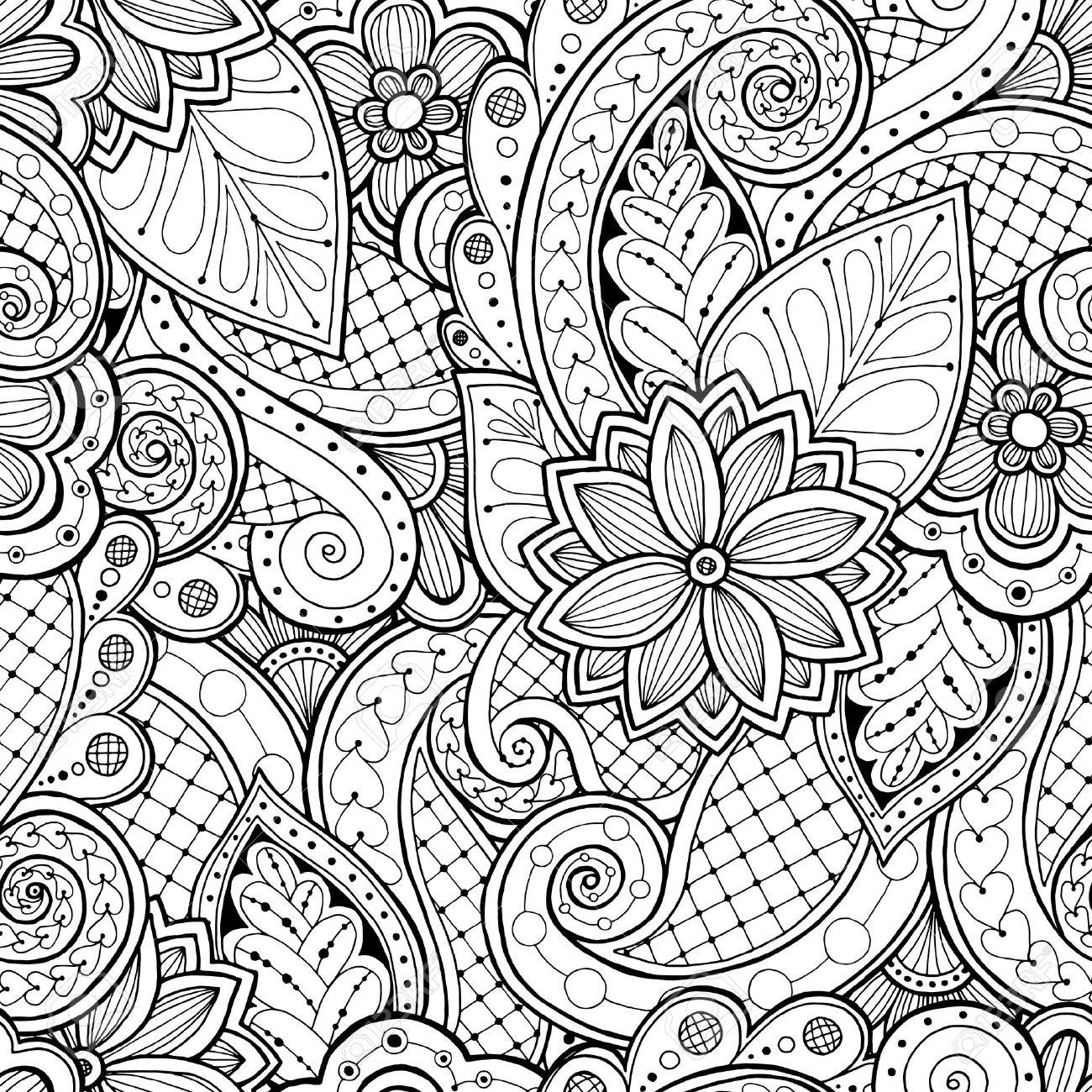 Doodle De Fondo Sin Fisuras En El Vector Con Doodles, Flores Y ...