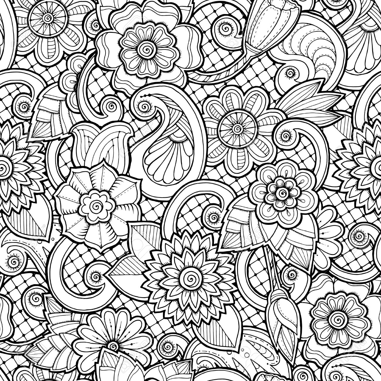 The wallpaper coloring book - Doodle Seamless Background In Vector With Doodles Flowers And Paisley Vector Ethnic Pattern Can