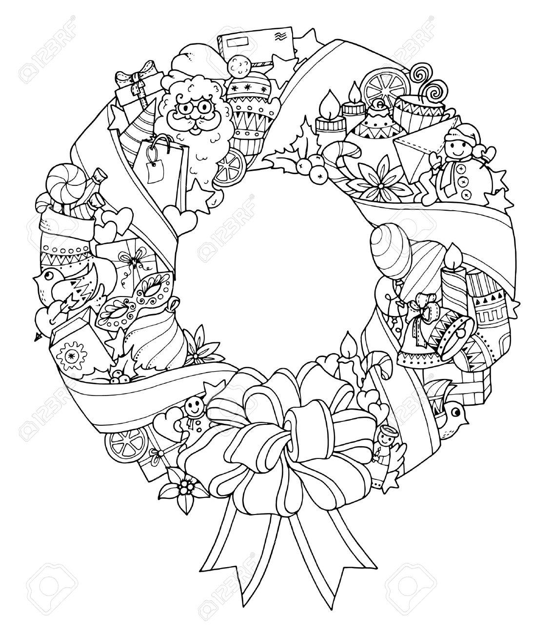 Weihnachtskranz Doodle Muster Mit Luftballons Glocken Süßigkeiten