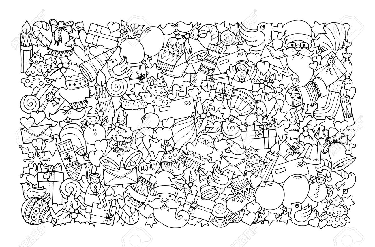 Christmas theme. Doodle background with balloon, bells, sweets, Christmas socks, gift, mittens, envelope, letter, tree, star, candle, bird, snowman, ball, bow, heart and Santa Claus. Ethnic ornaments. - 50559284