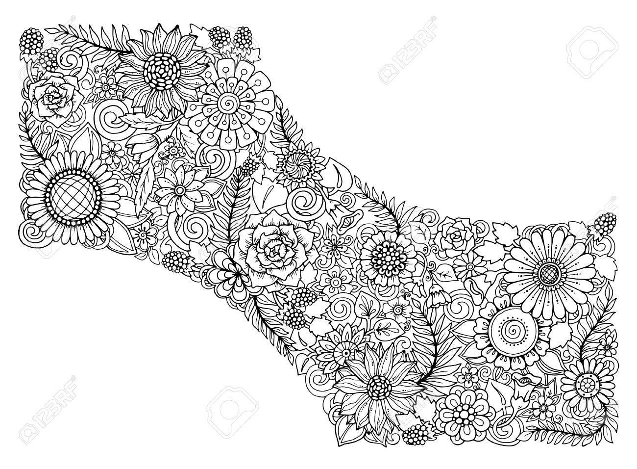 Tarjeta Floral Blanco Y Negro Dibujado A Mano Patron De Flores