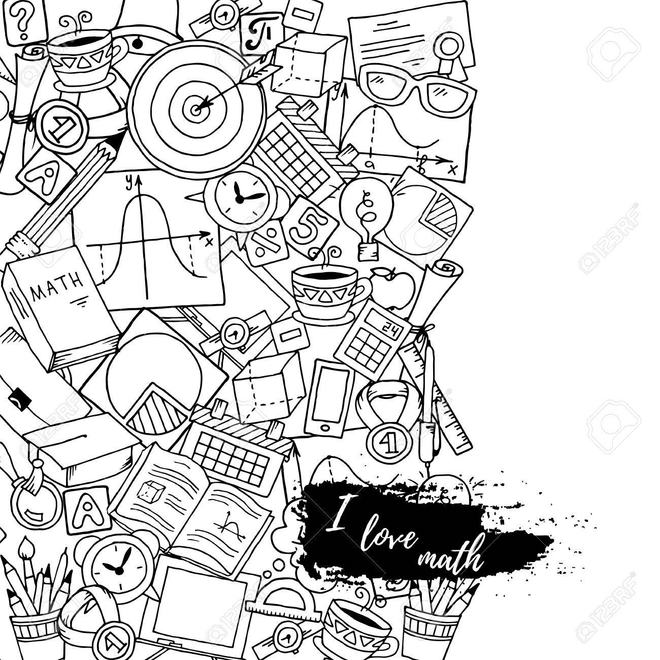 Mathematics Science Theme Hand Drawn Pattern About School And Learning In Doodle Style Teachers