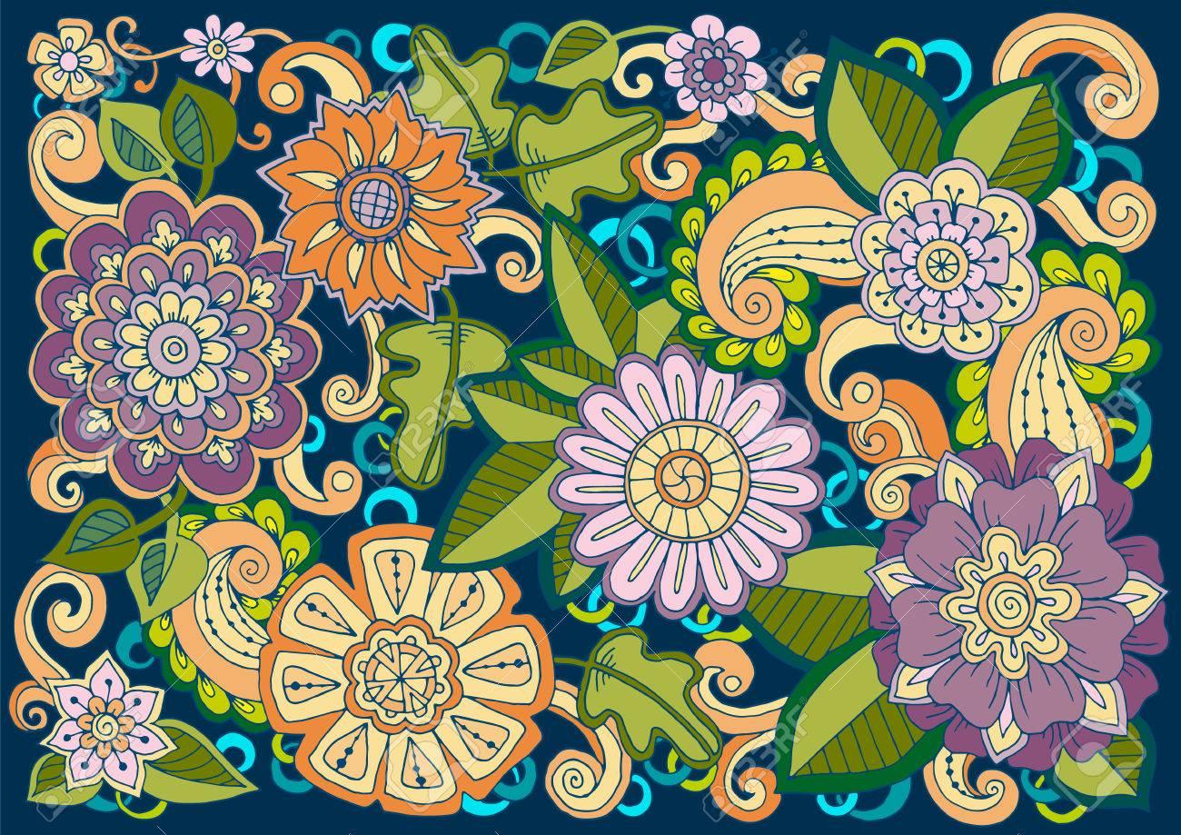 Tarjeta Floral Coloreado A Mano Patron Dibujado Con Flores