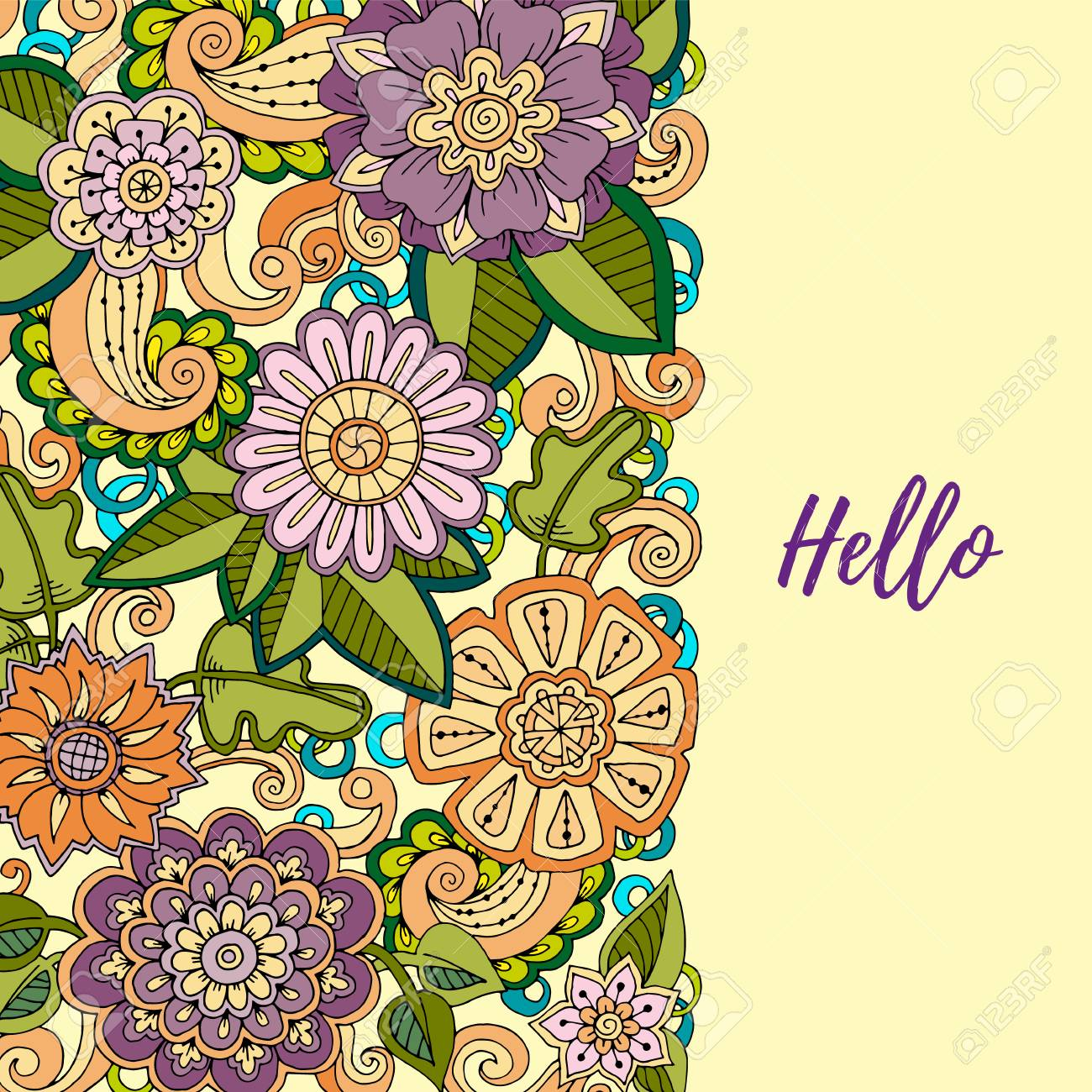 Floral card  Colored hand drawn pattern with flowers  Zentangle