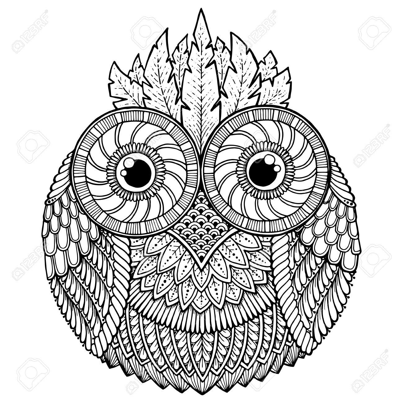 Theme Oiseaux Chouette Mandala Noir Et Blanc Avec Motif Abstrait