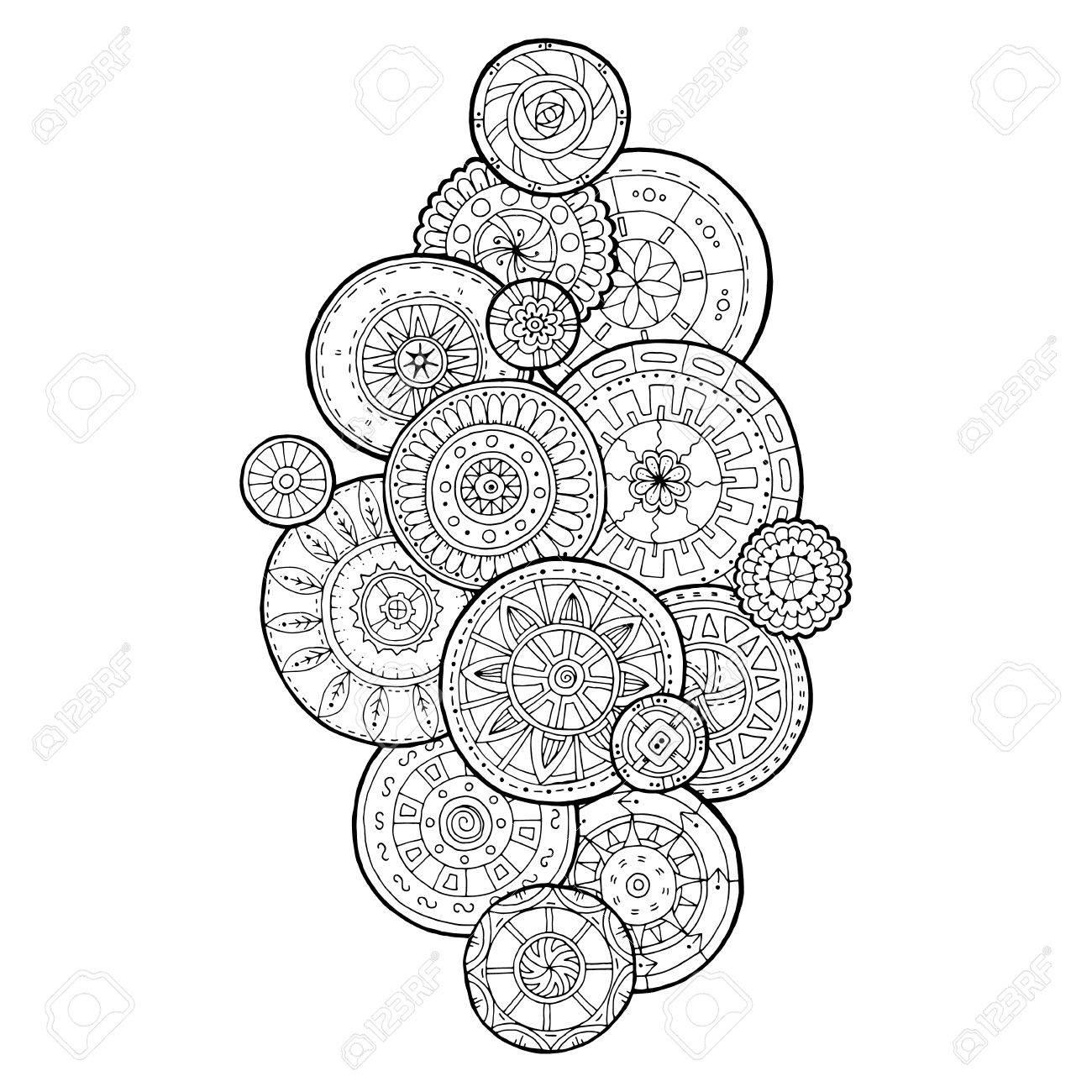 Verano Círculos De Flores Del Doodle Ornamento. Dibujado A Mano ...