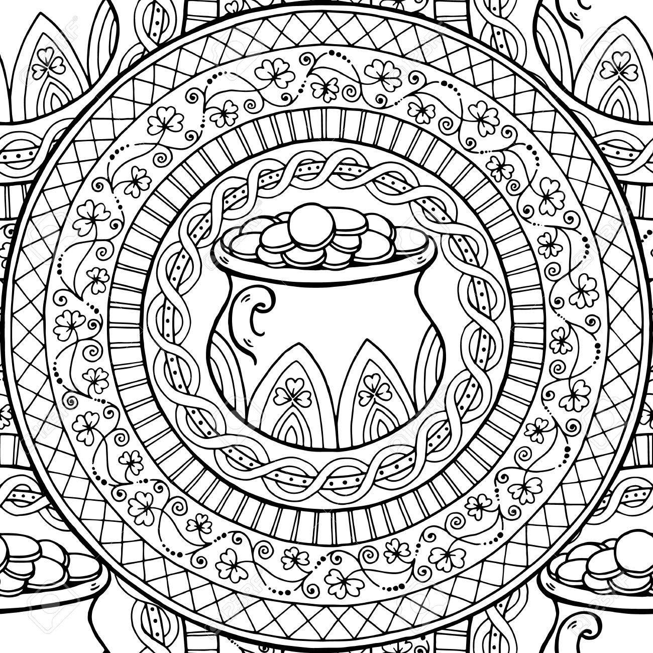Mandala Tema Del Día De San Patricio Con La Olla De Irlanda, Monedas ...