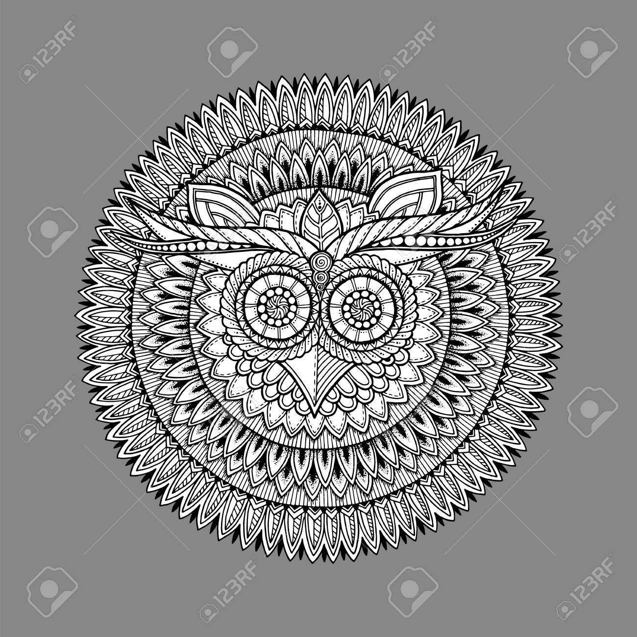 Buho Tatuaje Mandala mandala tema de las aves. mandala blanco buho con el modelo abstracto  ornamento azteca étnico sobre fondo gris. bandera búho. tatuaje del búho.