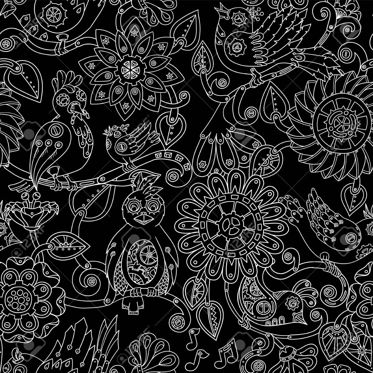 スチーム パンクな鳥と花のシームレスな背景を落書き 民族パターン ベクトルは 壁紙 パターンの塗りつぶし 招待状 書籍の表紙 Web ページを使用できます 手の描かれたパターン のイラスト素材 ベクタ Image