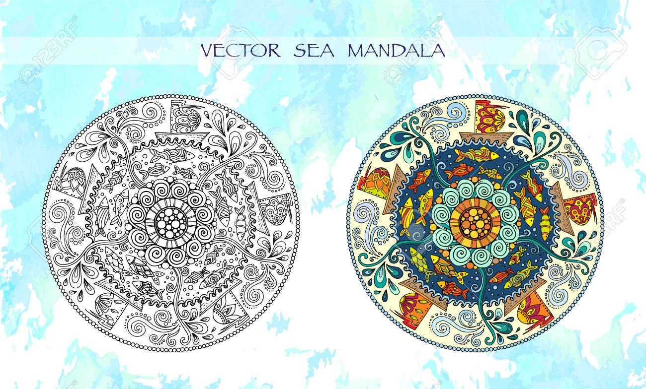 Mandalas De Colores tnicos Con Adornos Decorativos Peces De