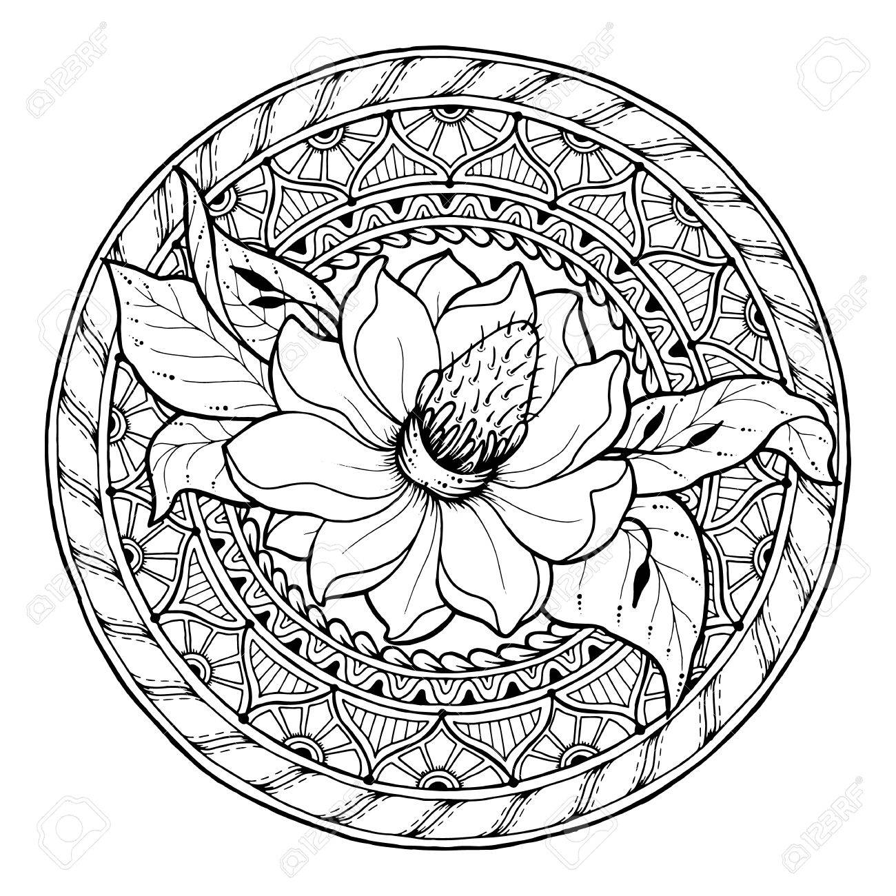 Blumenthema. Kreis Sommer Doodle Blumen-Ornament. Hand Gezeichnet ...