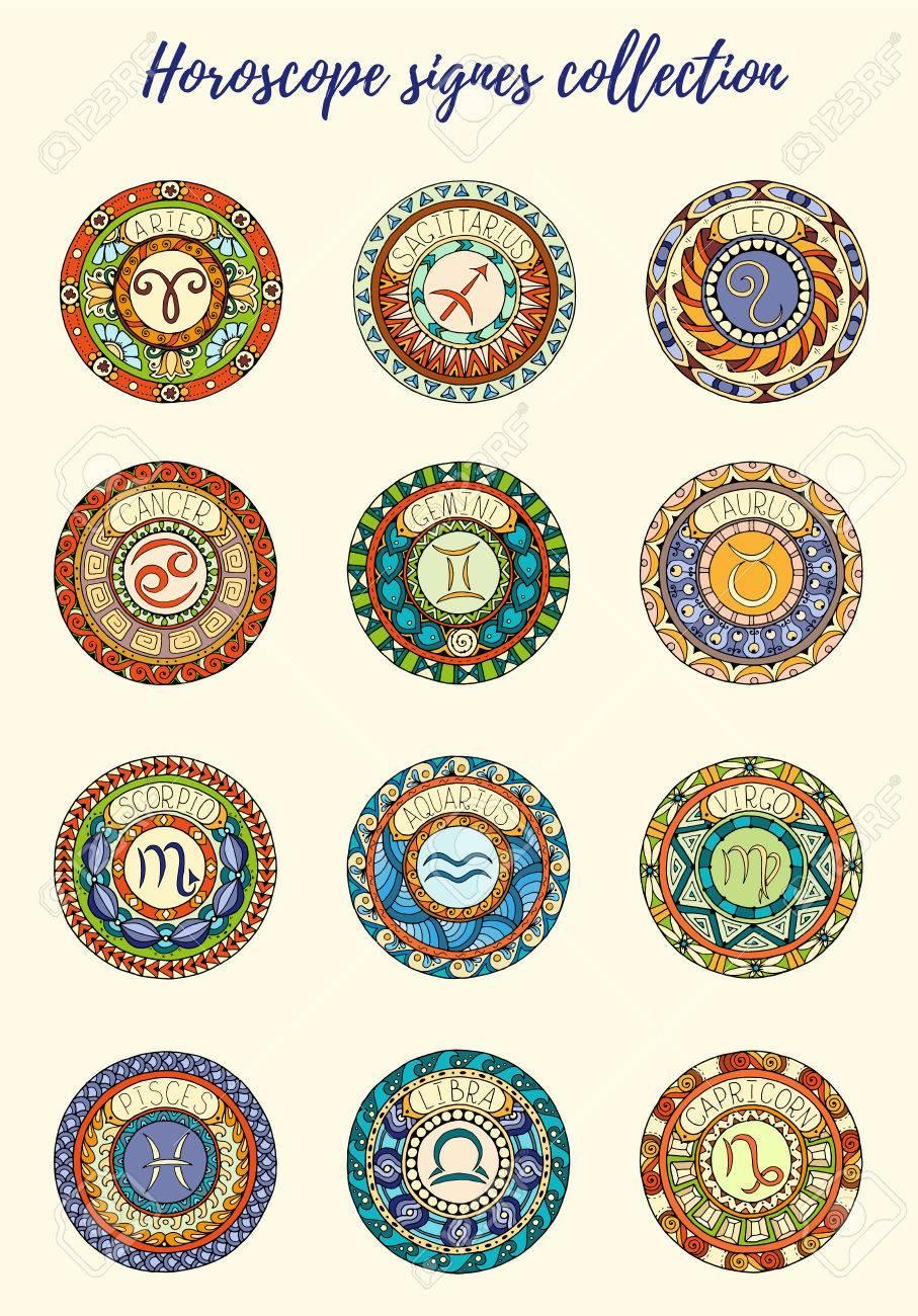 El Tema De Los Signos Del Zodiaco Conjunto De Mandalas Con Los Signos Del Zodíaco Libra Mandalas Inspirados Dibujado A Mano Tribales Símbolos Del Horóscopo Mandala De Arte Del Tatuaje Diseño De