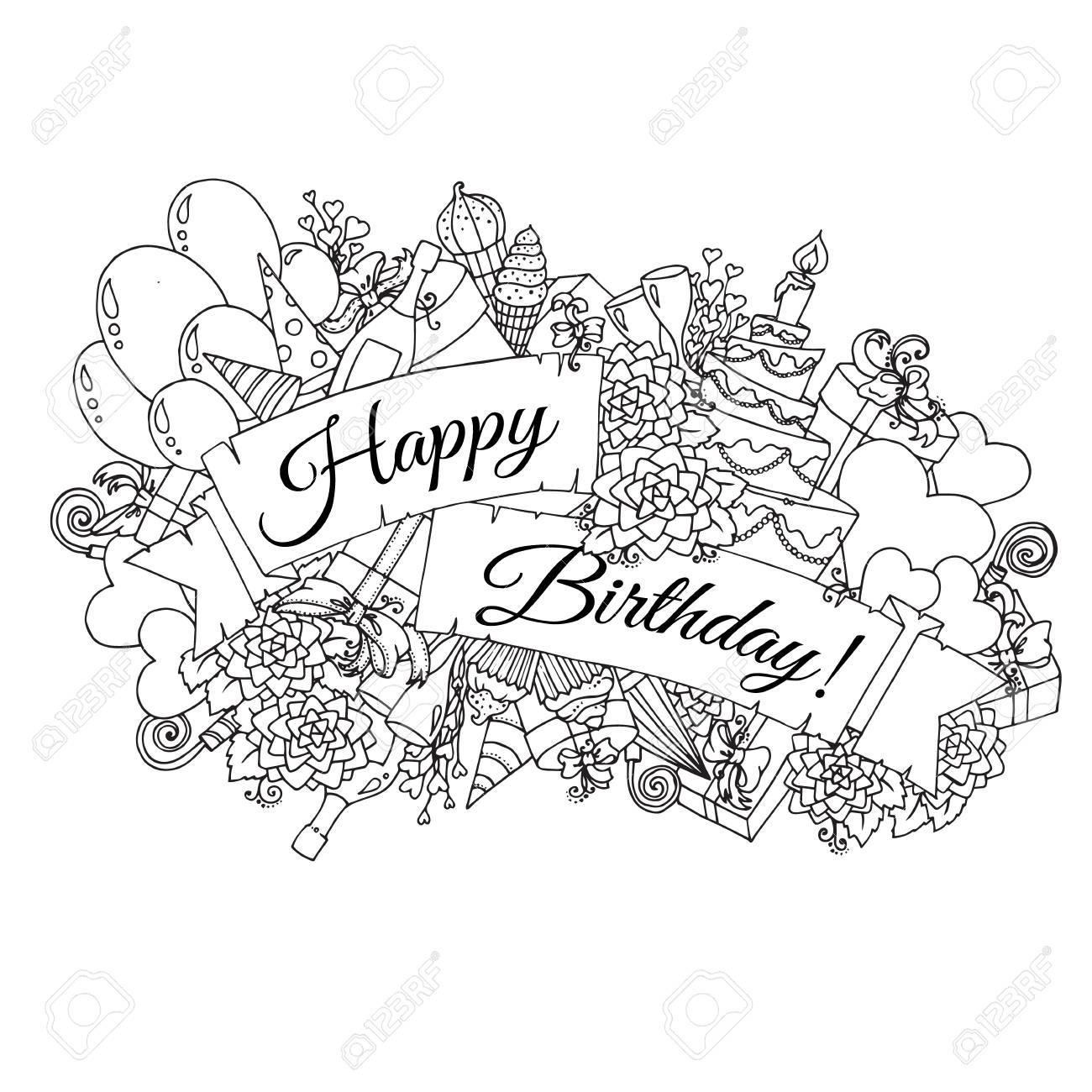 Happy Birthday Karte.Stock Photo
