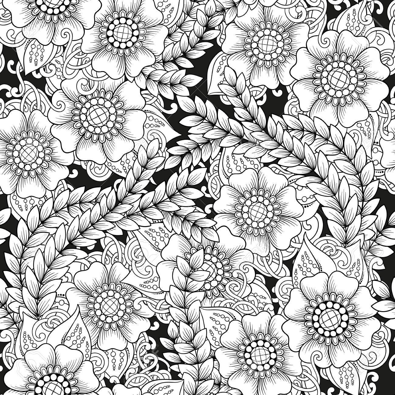 Motif Noir Et Blanc Sans Couture D Ornement Avec Des Fleurs
