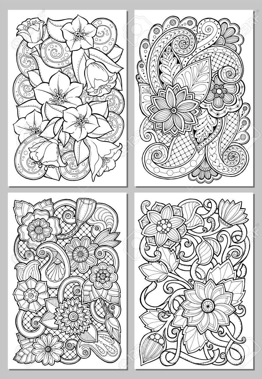 Greeting cards with abstract flowers pages for adult coloring greeting cards with abstract flowers pages for adult coloring book vintage hand drawn design m4hsunfo
