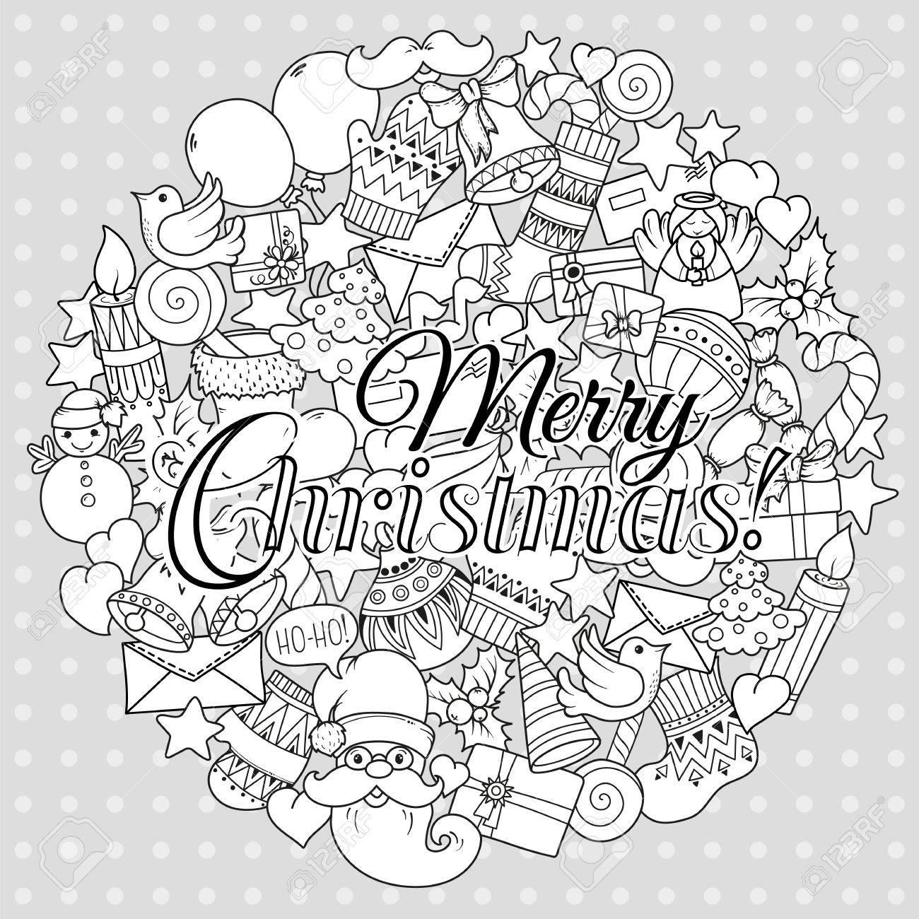 Joyeux Noël Ensemble De Modèles De Modèle Et De Texte Monochrome