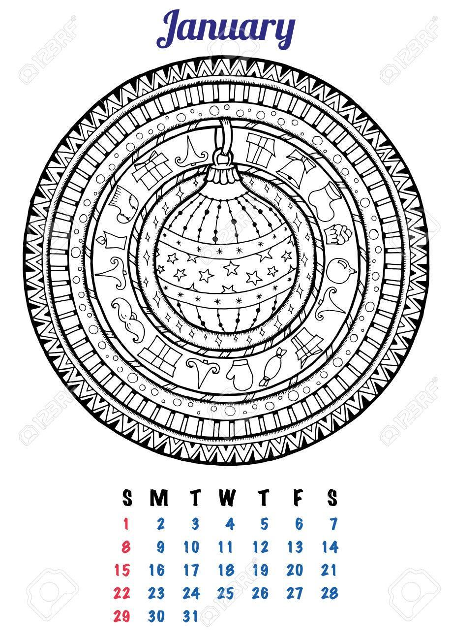 2017 Enero Calendario Planificador De Diseño. Mandala Patrón De ...
