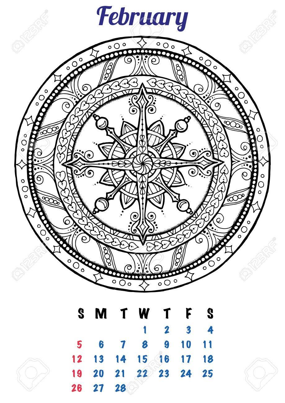 2017 Enero Calendario Planificador De Diseño. Modelo De La Mandala ...