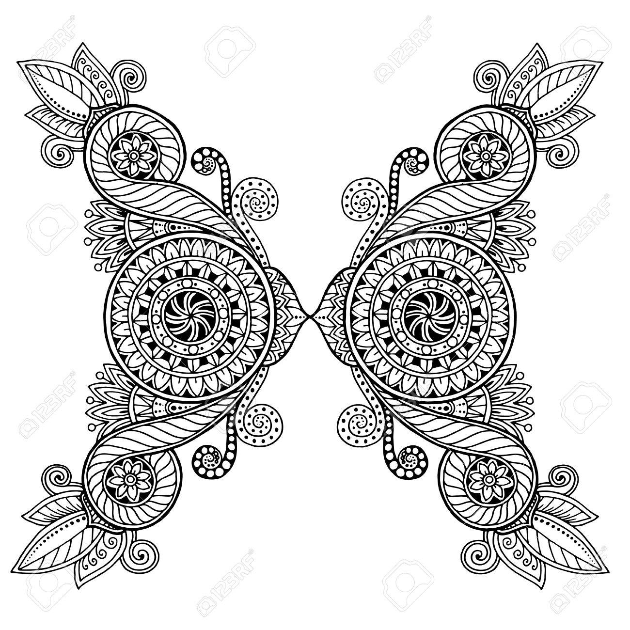 Floral étnico, Arte Del Círculo Del Modelo Del Fondo En El Vector ...