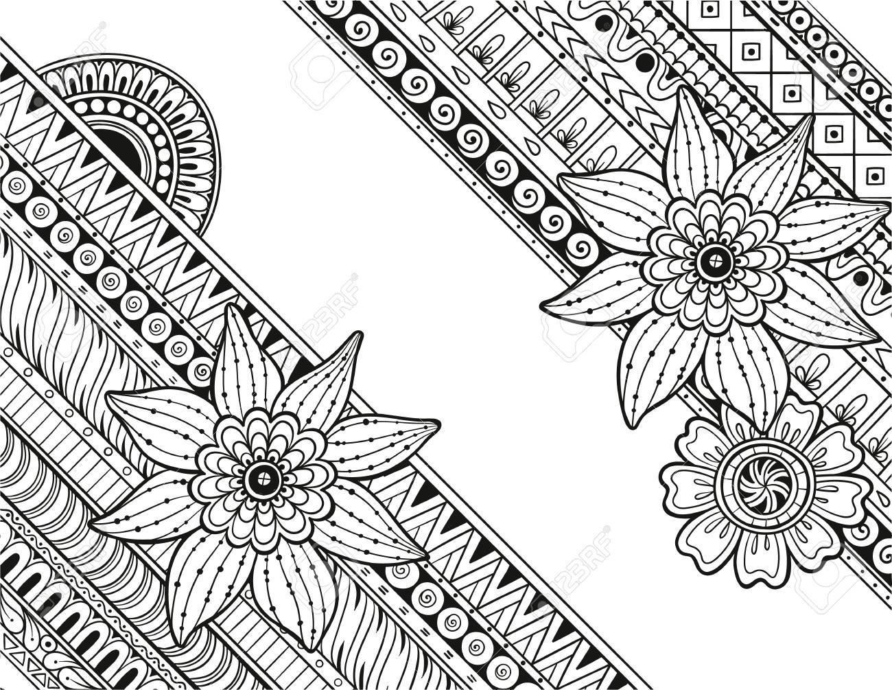 マンダラと花ペイズリー花柄ベクトル パターンを落書き塗り絵デザイン誕生日やその他の休日の任意の種