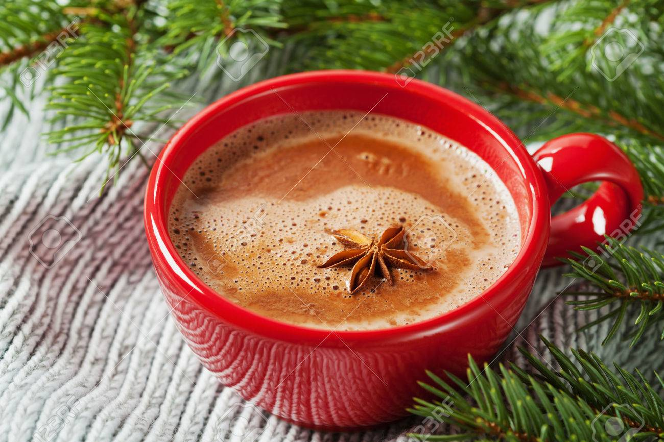 Cup of hot cocoa or hot chocolate on knitted background with fir tree, traditional beverage for winter time - 47924235