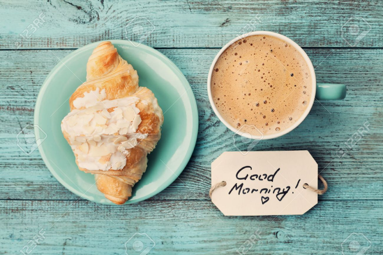 Coffee Mug With Croissant And Notes Good Morning On Turquoise ...