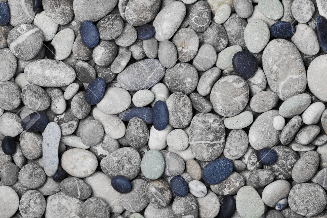 Black and gray pebbles for background for spa, natural macro texture, top view - 55770752