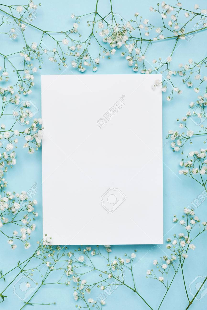 Wedding Mockup With White Paper List And Flowers Gypsophila On