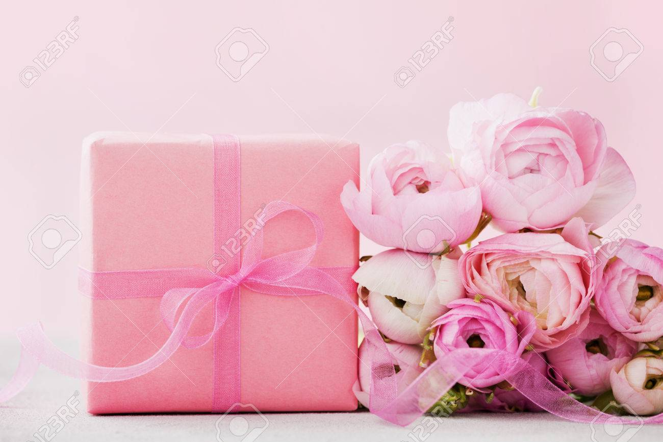 Beautiful Spring Ranunculus Flowers And Gift Box On Gray Stone ...